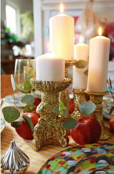 30 DIY Dollar Store Christmas Decorations You Can Make With Your Kids Double Sparkle No Shed Glitter Candle Sticks by I Love To Create - 30 Incredible Dollar Store DIY Christmas Decor Ideas. Dollar Store Christmas, Christmas Crafts, Christmas Decorations, Frugal Christmas, Cheap Holiday, Christmas Christmas, Homemade Decorations, Table Decorations, Holiday Wreaths