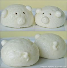 Happy Home Baking: Fun with Steamed Buns (red bean buns) Steamed Cake, Steamed Buns, Donuts, Asian Desserts, Asian Recipes, Custard Buns, Macarons, Bun Cake, Bread Art