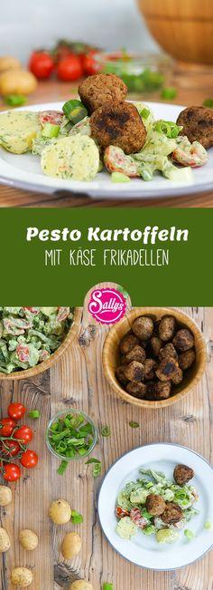 Leichte Küche: Die Pesto-Kartoffeln werden mit Joghurt verfeinert. Somit ist das Dressing leicht und bekömmlich und liegt nicht schwer im Magen. Die Frikadellen bekommen eine besondere Würze durch den Weichkäse.