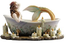 mermaid Bathroom Decor Bath Time Mermaid Taking a Bath Sculpture by Selina Fenech Mermaid Sculpture, Sculpture Art, Mermaid Statue, Mermaid Mermaid, Mermaid Bathroom Decor, Mermaid Home Decor, Mermaid Bedroom, Fairy Figurines, Collectible Figurines