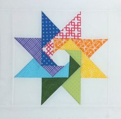 Great rainbow star block by Joan Lucchese, made for the Quilt Around the World 2 Bee.