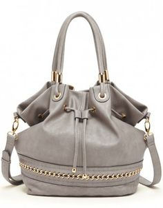 Gray Quilted & Chain Hobo