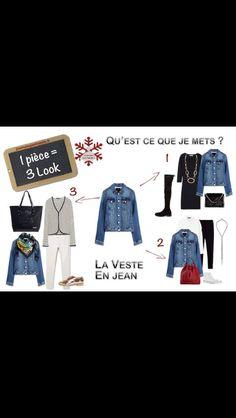 Début de la série : 1 pièce = 3 Look. Aujourd'hui, 3 tenues avec une #veste en #jean. Les look sur 2minutesjemhabille.fr