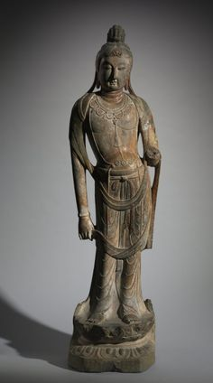 Standing Guanyin, 8th Century (?) China, Tang dynasty (618-907) limestone, Overall: h. 170.80 cm