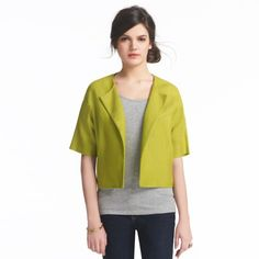 kate spade | cropped micah jacket  Love the color against the muted gray. cool outfit