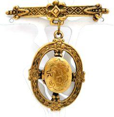 Gilded Brass Locket Brooch Vintage Estate Dangle Pin Original Photo | eBay