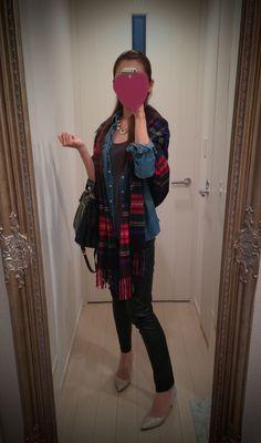 Checker print scarf + leather black pants + beige heels - http://ameblo.jp/nyprtkifml