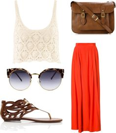 flowy maxi skirt + cropped crochet top + bohemian sandals + vintage sunglasses + leather shoulder bag