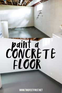 Update your concrete floors with a fresh coat of paint. See the whole process on how to paint a concrete floor start to finish using concrete paint. Painting Concrete Walls, Concrete Basement Floors, Painting Basement Floors, Painted Concrete Floors, Ideas For Concrete Floors, Concrete Bedroom Floor, Basement Floor Paint, Finished Concrete Floors, Basement Flooring Waterproof