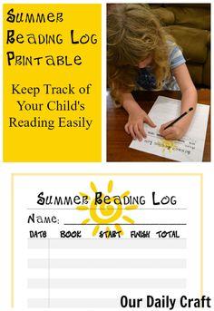 free summer reading log printable for kids