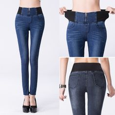 Item Type: Jeans Gender: Women Decoration: Washed Jeans Style: Pencil Pants Material: Spandex,Cotton Waist Type: High Fit Type: Skinny Wash: Medium Length: Full Length Fabric Type: Plaid Brand Name: Blue butterfly Closure Type: Elastic Waist