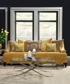 Loving this Gold Nailhead Sofa on #zulily! #zulilyfinds