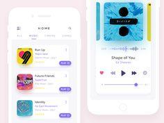 App Screens designed by Zaib Ali. Connect with them on Dribbble; Ui Design Mobile, Ios App Design, Web Ui Design, User Interface Design, Flat Design, Layout Design, App Design Inspiration, Mobile App Ui, Music App