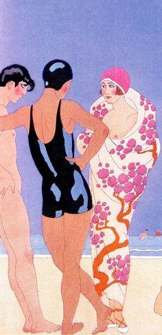 'Le Bonheur du Jour' (day happiness) (naturiste) Georges Barbier (detail) handcoloured pochoir 1924. Plague naturiste. Nudite obligatorie (from The Fine Art of Fashion Illustration by Julian Robinson & Gracie Calvey 2015) (please follow minkshmink on pinterest) #flapper #twenties #pochoir #artdeco #deco #beachwear #swimwear #nudebeach #naturiste