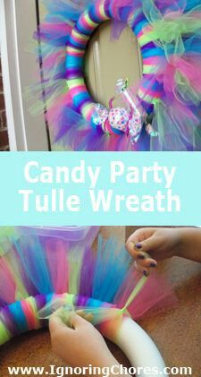 This would go awesome with a neon party theme Candy Theme, Candy Party, Tulle Wreath, Diy Wreath, Neon Party, Crafty Craft, Crafting, Fun Crafts For Kids, Candyland