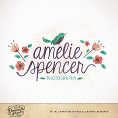 Modern Whimsical watercolor Logo with bird, flowers and calligraphy  $39.90