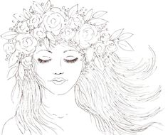 Boho Girl with a Crown of Flowers in her Hair. Youtube Video Traceable #coloring…