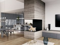 Wood veneer kitchen with island FIAMMA by GD Arredamenti