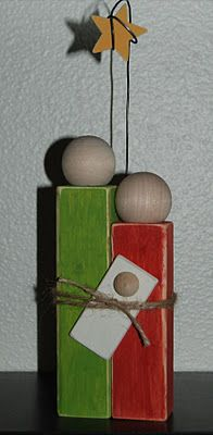 2x2 Simple Nativity - my mom taught this one to the group - I'm not sure where she found the idea, but she saw it online and found all the pieces at different stores and put together her own kits for us to make at our craft day.  Everyone painted their different colors or didn't paint them at all and left them natural.  It was fun to see the different styles everyone made out of the same kit.