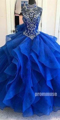 8a455dd3af87c High Neck Beaded Top Long Prom Ball Gown Dresses SPE121 #promdress  #promdresses #longpromdress #longpromdresses