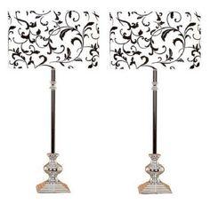 2 PIECE SET LIGHT TABLE LAMP SILVER ACCENT SHADE FABRIC #AspireMakea