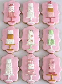 Modern wedding cake cookies by Miss Biscuit