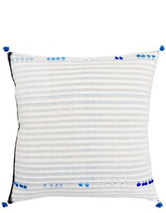 Asmaani Pillow in Blue Tassel Stripe, Blue - LEIF Shop