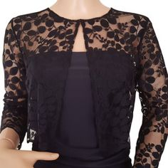 Leaf design lace jacket/bolero in Black or Navy with 3/4 sleeves in UK sizes 8 to 18