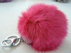 plush HOT PINK color fur ball keychain pom pom glam by sassycotton