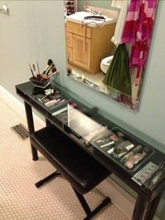 Ikea Makeup Vanity.. For the project you'll need four Vika Curry legs, an Ekby Gruvan shelf, a Kolja mirror, a stool, and acrylic bead storage containers. These things are more than enough to organize a perfect makeup storage. MUST HAVE!!!