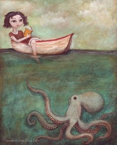 Maggie and the Octopus giclee print wall art home by acageybee