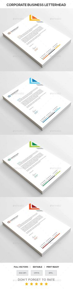 Buy Corporate Letterhead by generousart on GraphicRiver. Corporate Design, Business Card Design, Brochure Design, Branding Design, Logo Design, Letterhead Template, Letterhead Logo, Letterhead Design Inspiration, Stationery Printing