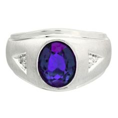Diamond and Oval Tanzanite Gemstone Men's Sterling Silver Ring - Gemologica