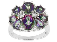 4.81ctw Mystic(R) Green Topaz With .35ctw Round White Topaz Sterling Silver Ring
