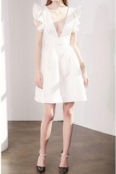 Marchesa Notte Ivory Striped Neoprene Party Dress   Poshare