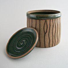 Stoneware ceramic canister translucent green on por ToucanArtStudio