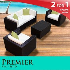 44783d90b39 Premier Outdoor Wicker 5 Piece Patio Set Ivory Covers -05D by TK Classics.   1381.00