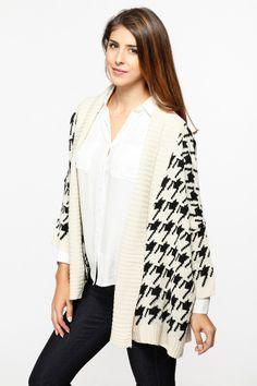 Houndstooth Print Chunky Ivory Cardigan GAME DAY