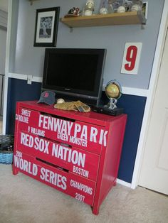 #Subway Style #Baseball #Dresser for My #RedSox Fans {#Ikea Hack}