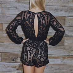Black Lace Romper! Audrey3+1 Brand-new, size small, open back, longsleeve, romper! never worn! super sexy! Audrey3+1 Pants Jumpsuits & Rompers