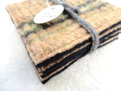 Wool Coasters TAN & NAVY Fair Isle Felted Wool by WormeWoole