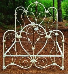 Bed Frames by The Classy Home Antique Iron Beds, Wrought Iron Beds, Beach Bedroom Decor, Shabby Bedroom, White Iron Beds, King Size Bed Designs, Iron Headboard, Cast Iron Beds, Metal Beds
