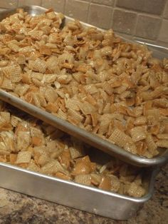 Christmas Crack Chex Mix Ingredients: • 1 12.8-ounce box Rice Chex cereal • 1 12-ponce box Golden Grahams cereal • 1 7-ounce bag shredded coconut • 1 4-ounce bag slivered almonds • 1 1/2 cups butter...