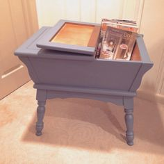 Blue Dough Box, End Table, Side Table, Accent Piece, Storage Table by 2BirdsVintage on Etsy https://www.etsy.com/listing/220466614/blue-dough-box-end-table-side-table