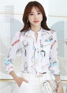 2017 Primavera Coreano V Neck Chiffon Blusa Floral Camisa de Manga Longa Mulheres Slim Senhoras Escritório Blusas Feminina em Blusas & Camisas de Das mulheres Roupas & Acessórios no AliExpress.com | Alibaba Group