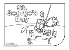 Enjoy colouring in these activities! With this printable activity, you can colour in your very own knight for St. Baby Activities 1 Year, Eyfs Activities, Scout Activities, George Kids, St George Flag, Flag Coloring Pages, Coloring For Kids, St Pirans, Patron Saint Of England