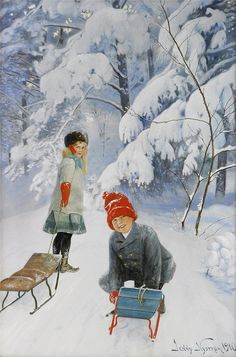 Winterbild von ---- Winterpicture by Jenny Nystrom, - Talvi Illustration Noel, Winter Illustration, Christmas Illustration, Illustrations, Christmas Scenes, Christmas Art, Winter Christmas, Holiday, Vintage Christmas Cards