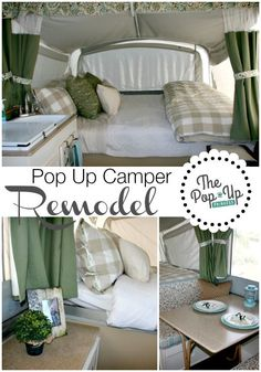 Pop Up Camper Remodel: The Big Reveal! We totally transformed our tired 90's pop up camper with some paint and a little hard work. You won't believe how different it looks now!