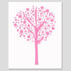 Tree Dot - 11x14 Print - Modern Nursery Art - Kids Wall Art - Choose Your Colors - Shown in Pink, Yellow, Apple Green, Red, and More. $25.00, via Etsy.