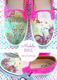 Panchas Bike - Comprar en Helter Skelter Painted Clothes, Hand Painted Shoes, Skull Shoes, Painted Sneakers, Decorated Shoes, Canvas Designs, Shoe Art, Pretty Shoes, Decoupage
